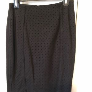 Black pencil skirt w/ raised black velvet dots